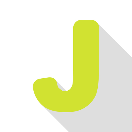 Letter J sign design template element. Pear icon with flat style shadow path.