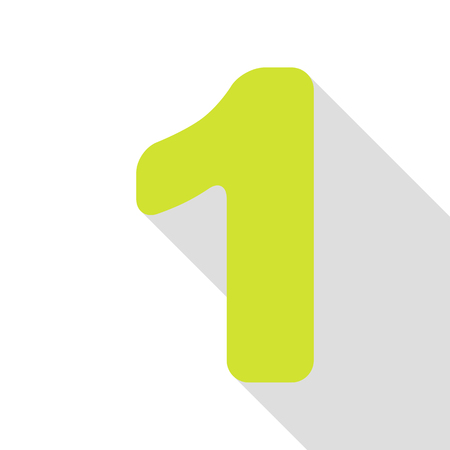 Number 1 sign design template element. Pear icon with flat style shadow path.