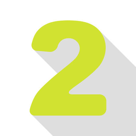 Number 2 sign design template elements. Pear icon with flat style shadow path. Illustration