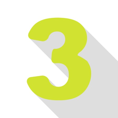 Number 3 sign design template element. Pear icon with flat style shadow path. Illustration