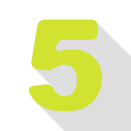 Number 5 sign design template element. Pear icon with flat style shadow path.