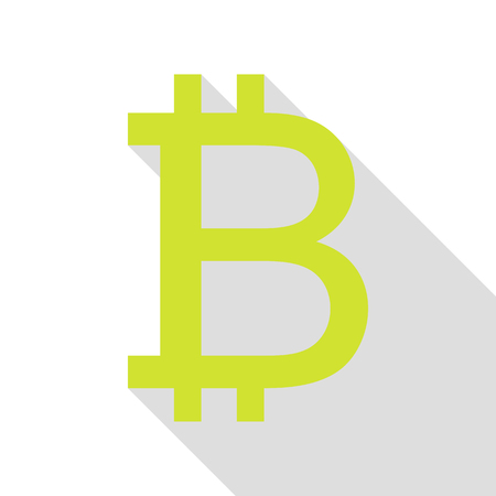 accepted: Bitcoin sign. Pear icon with flat style shadow path.