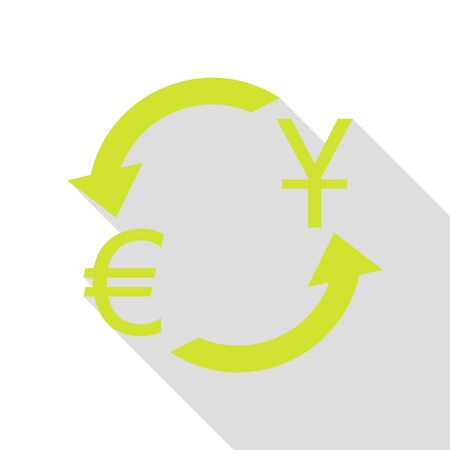 Currency exchange sign. Dollar and Euro. Pear icon with flat style shadow path. Illustration