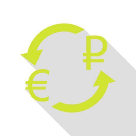 abstract recycle arrows: Currency exchange sign. Euro and Russia Rouble. Pear icon with flat style shadow path.