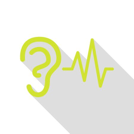 audible: Ear hearing sound sign. Pear icon with flat style shadow path. Stock Photo