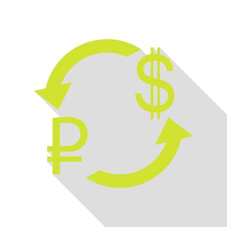 abstract recycle arrows: Currency exchange sign. Rouble and US Dollar Pear icon with flat style shadow path. Stock Photo