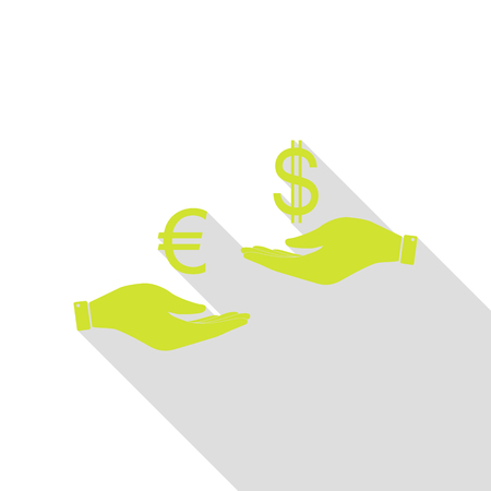 lira: Currency exchange from hand to hand. Euro and Dollar. Pear icon with flat style shadow path. Stock Photo