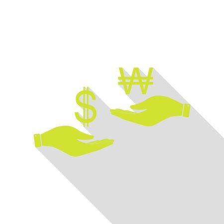 libra esterlina: Cambio de moneda de mano en mano. Dólar y Corea del Sur ganó. Icono de pera con la ruta de sombra de estilo plano. Foto de archivo