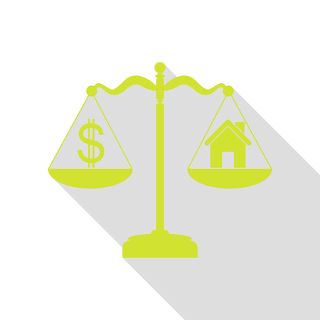House and dollar symbol on scales. Pear icon with flat style shadow path. Illustration