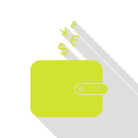 art processing: Wallet sign with currency symbols. Pear icon with flat style shadow path.