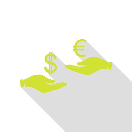 Valutawissel van hand tot hand. Dollar en Euro. Perenpictogram met vlakke stijl schaduwpad.