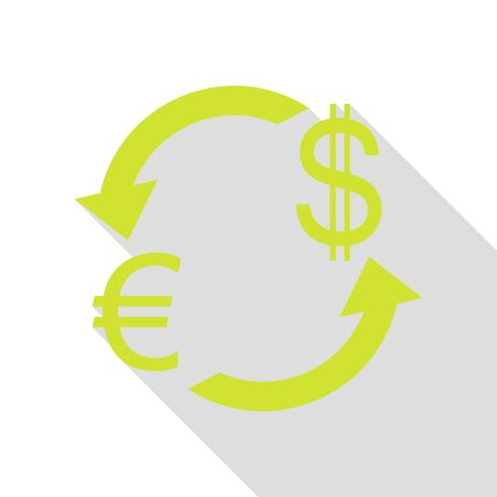 Currency exchange sign. Euro and US Dollar. Pear icon with flat style shadow path.