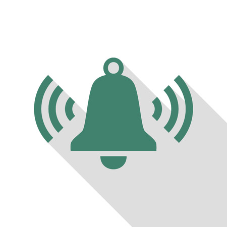 Ringing bell icon. Veridian icon with flat style shadow path.