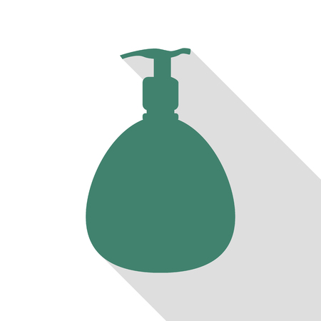 Gel, Foam Or Liquid Soap. Dispenser Pump Plastic Bottle silhouette. Veridian icon with flat style shadow path.
