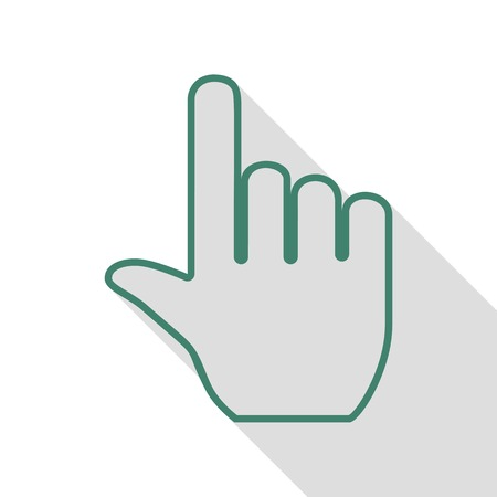 depress: Hand sign illustration. Veridian icon with flat style shadow path.