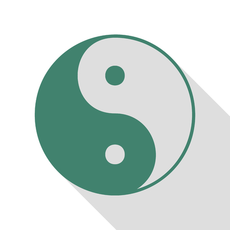 Ying yang symbol of harmony and balance. Veridian icon with flat style shadow path.