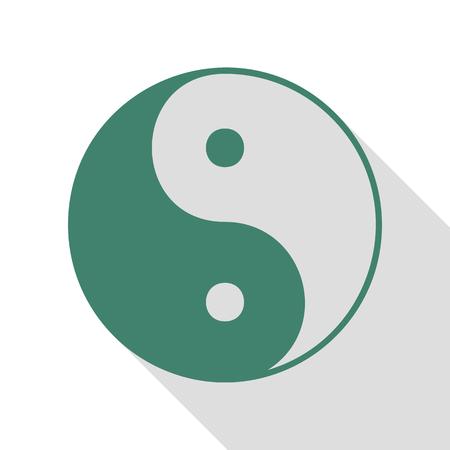 yin y yan: Ying yang símbolo de la armonía y el equilibrio. Icono de Veridian con la trayectoria plana de la sombra del estilo.