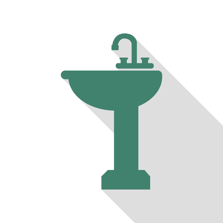Bathroom sink sign. Veridian icon with flat style shadow path. Illustration