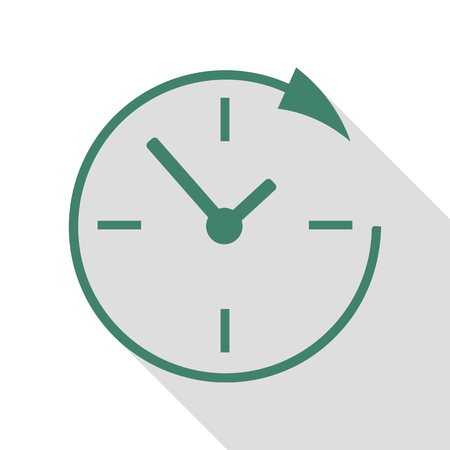 Service and support for customers around the clock and 24 hours. Veridian icon with flat style shadow path. Illustration
