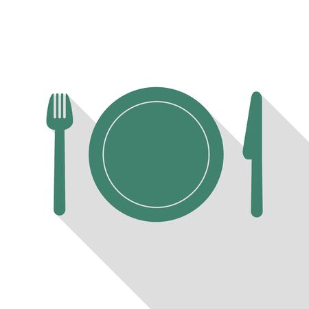 Fork, plate and knife. Veridian icon with flat style shadow path. Illustration