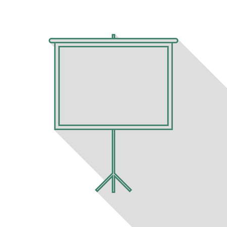 flat screen: Blank Projection screen. Veridian icon with flat style shadow path.