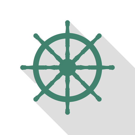 schooner: Ship wheel sign. Veridian icon with flat style shadow path. Illustration