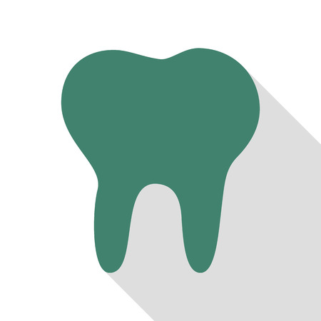 mouth pain: Tooth sign illustration. Veridian icon with flat style shadow path.