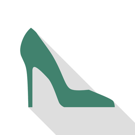 Woman shoe sign. Veridian icon with flat style shadow path.