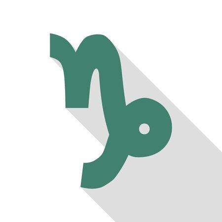 capricornio: ilustración signo de Capricornio. veridian icono con el camino de sombra estilo plano.