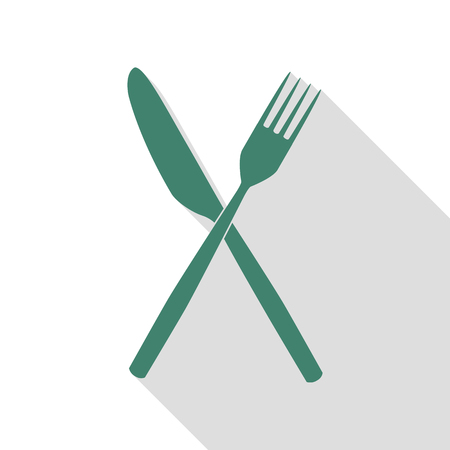 Fork and Knife sign. Veridian icon with flat style shadow path. Illustration