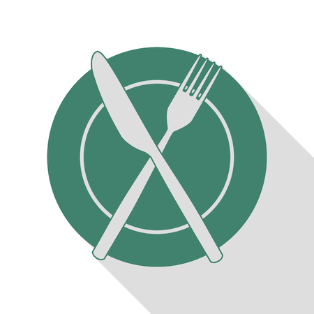 Fork, tape and Knife sign. Veridian icon with flat style shadow path.