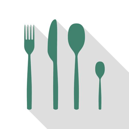 Fork spoon and knife sign. Veridian icon with flat style shadow path.