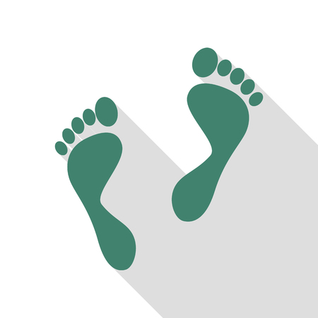 to commit: Foot prints sign. Veridian icon with flat style shadow path. Illustration