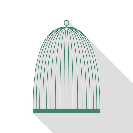 Bird cage sign. Veridian icon with flat style shadow path.