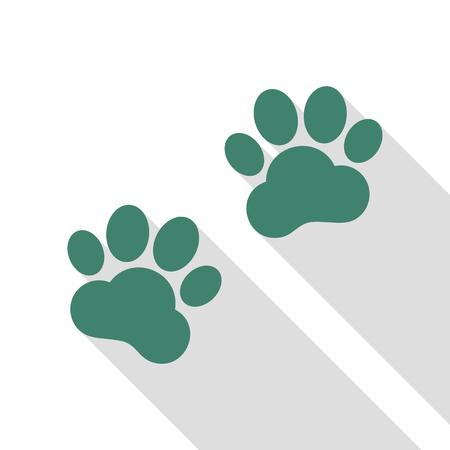 Animal Tracks sign. Veridian icon with flat style shadow path.
