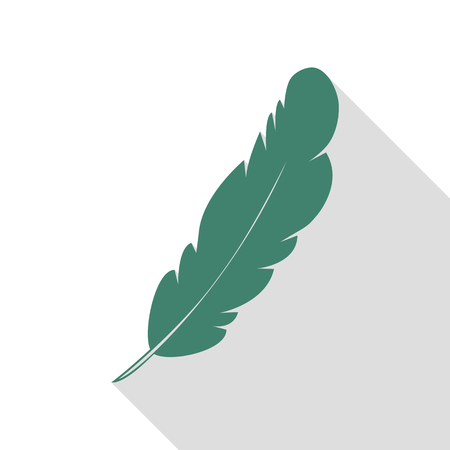 Feather sign illustration. Veridian icon with flat style shadow path. Illustration