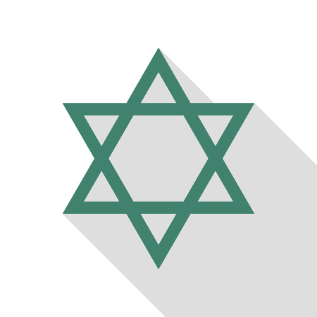 shalom: Shield Magen David Star. Symbol of Israel. Veridian icon with flat style shadow path.