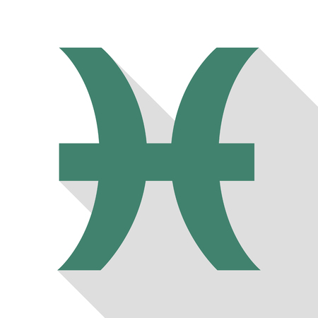 Pisces sign illustration. Veridian icon with flat style shadow path.