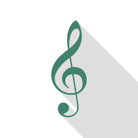 Music violin clef sign. G-clef. Treble clef. Veridian icon with flat style shadow path. Illustration