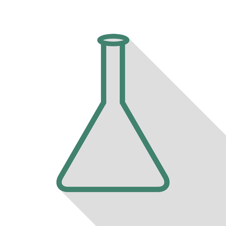 hypothesis: Conical Flask sign. Veridian icon with flat style shadow path.