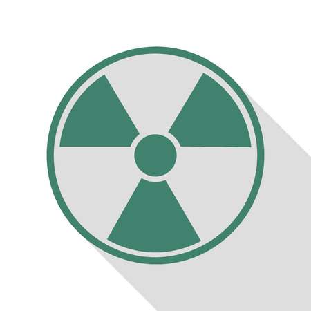 Radiation Round sign. Veridian icon with flat style shadow path.