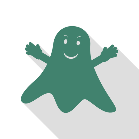 Ghost isolated sign. Veridian icon with flat style shadow path. Illustration