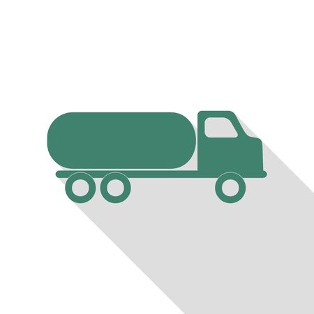 Car transports sign. Veridian icon with flat style shadow path. Illustration