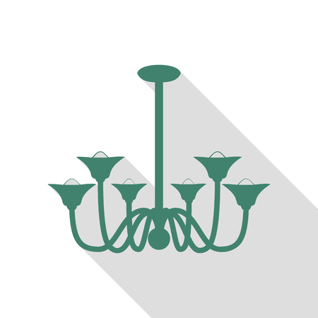 Chandelier simple sign. Veridian icon with flat style shadow path.