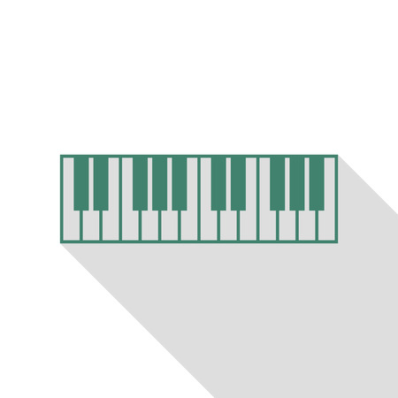 Piano Keyboard sign. Veridian icon with flat style shadow path.