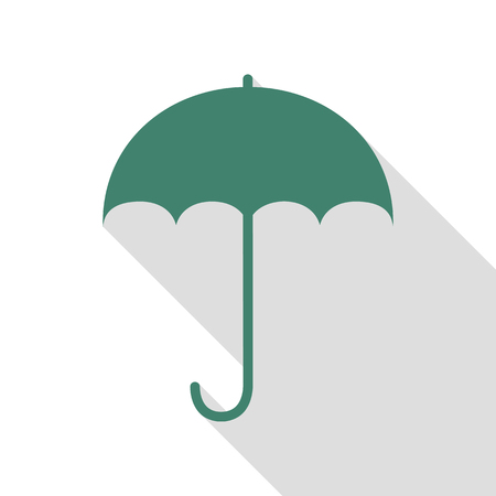 Umbrella sign icon. Rain protection symbol. Flat design style. Veridian icon with flat style shadow path.