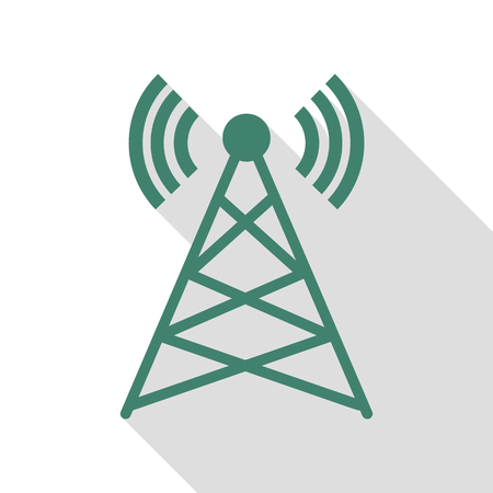 tv tower: Antenna sign illustration. Veridian icon with flat style shadow path.