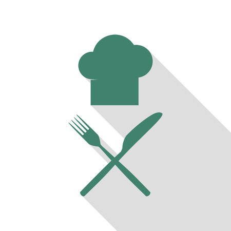 Chef with knife and fork sign. Veridian icon with flat style shadow path.