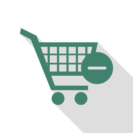 Vector Shopping Cart with Remove sign. Veridian icon with flat style shadow path.