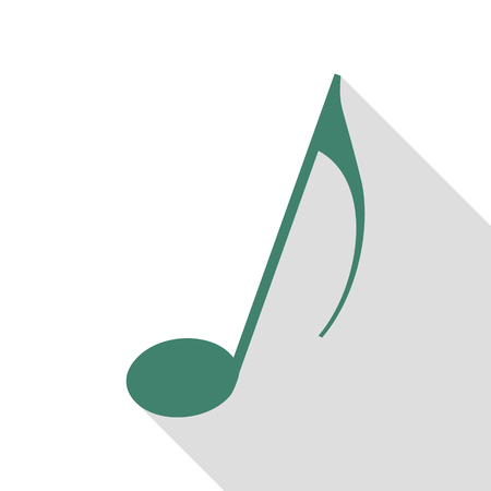 Music note sign. Veridian icon with flat style shadow path.
